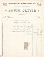 1909 - Atelier De Maréchalerie & LOUIS OLIVIE & Rue Traversière, MAZAMET (TARN) Avec Fiscal - Ambachten