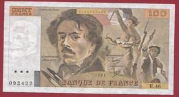 """100 Francs """"Delacroix"""" 1981----ALPH. U.46-- DANS L 'ETAT - 1962-1997 ''Francs''"""