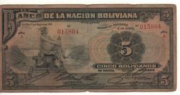 BOLIVIA  5 Bolivianos  P106   Dated 11 De Mayo 1911   ( Mercury ) - Bolivia