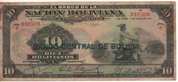 BOLIVIA  10 Bolivianos  P114   Dated   La Paz 11 De Mayo 1911 Serie E   ( Mercury ) - Bolivia