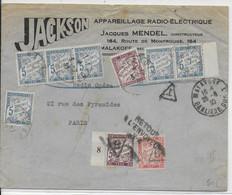 1930 - DOUBLE TAXE SPECTACULAIRE DUVAL Sur ENVELOPPE COMMERCIALE De MALAKOFF => PARIS REFUSEE => RETOUR - 1921-1960: Modern Period