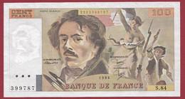 """100 Francs """"Delacroix"""" 1984----ALPH. S.84-- DANS L 'ETAT--AUCUN TROU D EPINGLE - 1962-1997 ''Francs''"""