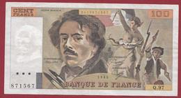"""100 Francs """"Delacroix"""" 1985----ALPH. Q.97-- DANS L 'ETAT - 100 F 1978-1995 ''Delacroix''"""