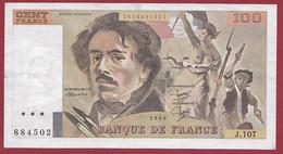"""100 Francs """"Delacroix"""" 1986----ALPH. J.107-- DANS L 'ETAT - 100 F 1978-1995 ''Delacroix''"""