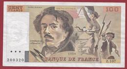 """100 Francs """"Delacroix"""" 1986----ALPH. Z.107-- DANS L 'ETAT - 100 F 1978-1995 ''Delacroix''"""