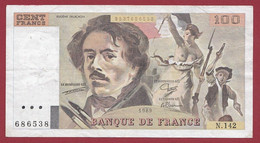 """100 Francs """"Delacroix"""" 1989----ALPH. N.142-- DANS L 'ETAT - 100 F 1978-1995 ''Delacroix''"""