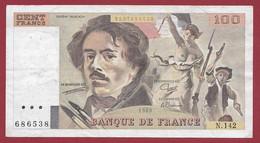 "100 Francs ""Delacroix"" 1989----ALPH. N.142-- DANS L 'ETAT - 1962-1997 ''Francs''"