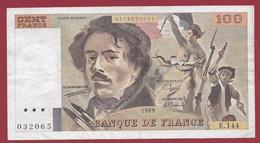 """100 Francs """"Delacroix"""" 1989----ALPH. E.144-- DANS L 'ETAT - 100 F 1978-1995 ''Delacroix''"""