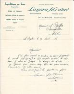 1935 - Expédition En Gros - Exportation - Œufs Et Beurre - Volailles Mortes Et Vivantes - LASSARA - LA CLAYETTE (S Et L) - Alimentaire
