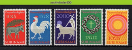 Muxx0556 FAUNA ZOOGDIEREN BOERDERIJ PASEN SHEEP ROOSTER COCK DONKEY EASTER MAMMALS FARM ANIMALS SURINAME 1971 PF/MNH - Farm