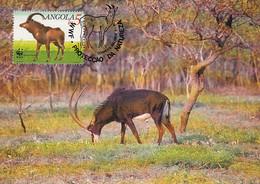 Angola 1990 Maxicard Sc #781 5k Giant Sable Antelope Adult Male WWF - Angola