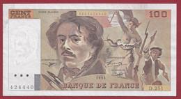 """100 Francs """"Delacroix"""" 1993----ALPH. D.251-- DANS L 'ETAT - 1962-1997 ''Francs''"""