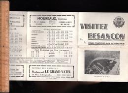 Programme Et Horaires Chemins De Fer Train Cars PLM Foire Comtoise De BESANCON 1936 - Programmes