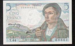 Billet 5 Francs Berger, 22=7=1943 - 1871-1952 Circulated During XXth