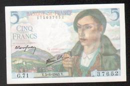 Billet 5 Francs Berger, 5=8=1943 - 1871-1952 Circulated During XXth