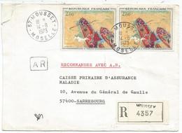 TABLEAU 2FR PENICHE PAIRE LETTRE REC AR MOUSSEY 14.8.1973 MOSELLE - 1961-....
