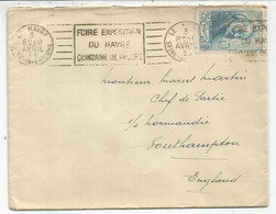 CEZANNE 2FR25  SEUL LETTRELE HAVRE 3 AVRIL   1939 POUR CHEF DE PARTIE  A BORD  S/S NORMANDIE A SOUTHAMPTON - Postmark Collection (Covers)