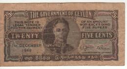 CEYLON  25  Cents    P44b  ( King Geroge VI - )  Dated 1st December 1949 - Sri Lanka