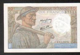 Billet 10 Francs Mineur, 9=1=1947 - 1871-1952 Antichi Franchi Circolanti Nel XX Secolo