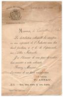 Invitation, Cabinet Du Maire De TARBES, 1884. - Sin Clasificación