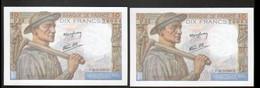 2 Billets 10 Francs Mineur, 25=3=1943, Neufs Et Numeros Se Suivant - 1871-1952 Antichi Franchi Circolanti Nel XX Secolo