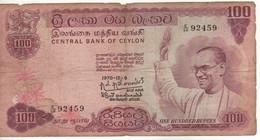 CEYLON  100 Rupees    P78b    Dated 1970-12-9  (Solomon West Ridgeway Dias Bandaranaike-Drummer/dancers) - Sri Lanka
