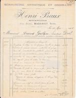 1905 - SERRURERIE ARTISTIQUE ET ORDINAIRE - Henri Baux - Mécanicien - Rue Neuve - MAZAMET (TARN) - Ambachten