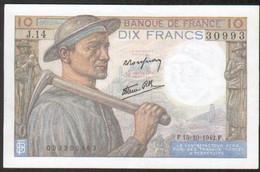 Billet 10 Francs Mineur, 15=10=1942, Neuf - 1871-1952 Antichi Franchi Circolanti Nel XX Secolo