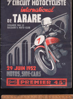Programme 7e Circuit Motocycliste International De TARARE 1952 Moto Side Car Publicités Follis Griffon Peugeot - Programmes