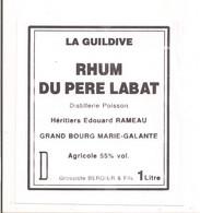 Etiquette  RHUM Du Père Labat - Agricole 55% - Héritiers Edouard. Rameau  -grossiste Berdier - GUADELOUPE - - Rhum
