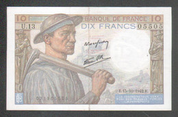 Billet 10 Francs Mineur, 15=10=1942 - 1871-1952 Antichi Franchi Circolanti Nel XX Secolo