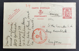 Belgien 1940, Postkarte Deutsche Zensur BRUXELLES Gelaufen Luzern Schweiz - Belgium