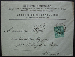 Montpellier Départ 1884 Sur N°75, Lettre De La Société Générale Pour Le Château Des Cazergues Près St Bauzille De Putois - Marcofilia (sobres)