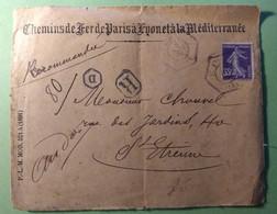 """Lettre Recommandée 8 Nov 19098 - St Etienne à Saint Etienne   - Cachet  Type D2d Recette Auxiliaire """"D"""" Sur YT 136 T1 - Marcofilie (Brieven)"""