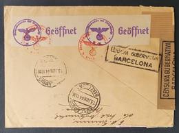 Spanien 1944, Brief MeF Deutsche Zensur BARCELONA Gelaufen Zürich - 1931-50 Lettres