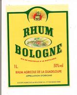 Etiquette RHUM BOLOGNE - Agricole -  50° -1l  - Appellation D'origine -  GUADELOUPE - Logo Barré 2007 - - Rhum