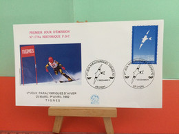 Jeux Paralympiques- (Lyon) - Albertville 1992 -  7.12.1991 -FDC 1er Jour - Coté 2,50€ Y&T - - Winter 1992: Albertville