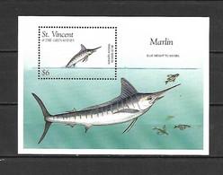 St Vincent Gr 1996 Marine Life - Fishes - Blue Marlin MS MNH - St.Vincent & Grenadines