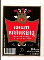 Etiquette  RHUM KARUKERA  Agricole - 50% 100cl - Pointe à Pitre - GUADELOUPE - - Rhum