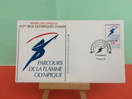 Parcours De La Flamme - (Paris) - Albertville 1992 -  14.11.1991 -FDC 1er Jour - Coté 4€ Y&T - - Winter 1992: Albertville