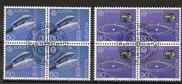 Europa CEPT 1991 Suisse - Switzerland - Schweiz Y&T N°1372 à 1373 - Michel N°1444 à 1445 (o) - Bloc De 4 Timbres - 1991