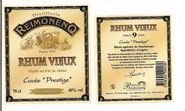 Etiquette  RHUM  Vieilli 9 Ans En Fût De Chêne  Cuvée Prestigel -  Distillerie  Reimonenq - GUADELOUPE - - Rhum