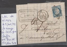 LAC DE NIMES  LE 2/OCT/75 LOZANGE GROS CHIFFRE 2659 Nr 60 C III - Poststempel (Briefe)