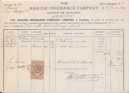 1884  - THE MARINE INSURANCE COMPANY - Agence De MAZAMET Avec Fiscal - 1800 – 1899