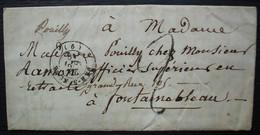 Bar Sur Meuse 1849 (Bar Le Duc), Lettre Pour Fontainebleau - Poststempel (Briefe)
