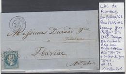 LAC DE ROMANS  LE 9/FEVR/68 LOZANGE GROS CHIFFRE 3191 Indice II POUR FLAVIAC  Nr 29A - Poststempel (Briefe)