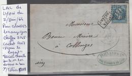 LAC DE LYON LE 7/JUIN/64 LOZANGE GROS CHIFFRE 2145 AVEC CACHET An7 ,,APRES LE DEPART,, POUR COLONGES  Nr 29A - Poststempel (Briefe)