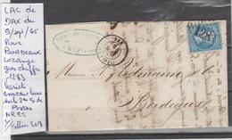 LAC DE DAX  LE 9/SEPT/65 LOZANGE GROS CHIFFRE 1283 POUR BORDEAUX VARIETE ANNEAUX LUNE SUR LE 2 Me S DE POSTE  Nr 22 - Poststempel (Briefe)