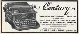 Century, Macchina Da Scrivere Americana. Advertising 1920 - Advertising
