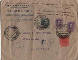 ESPAGNE LETTRE CHARGEE OBLITERATION MULTIPLE DE PALMA DE MALLORQUE POUR LA FRANCE - Briefe U. Dokumente